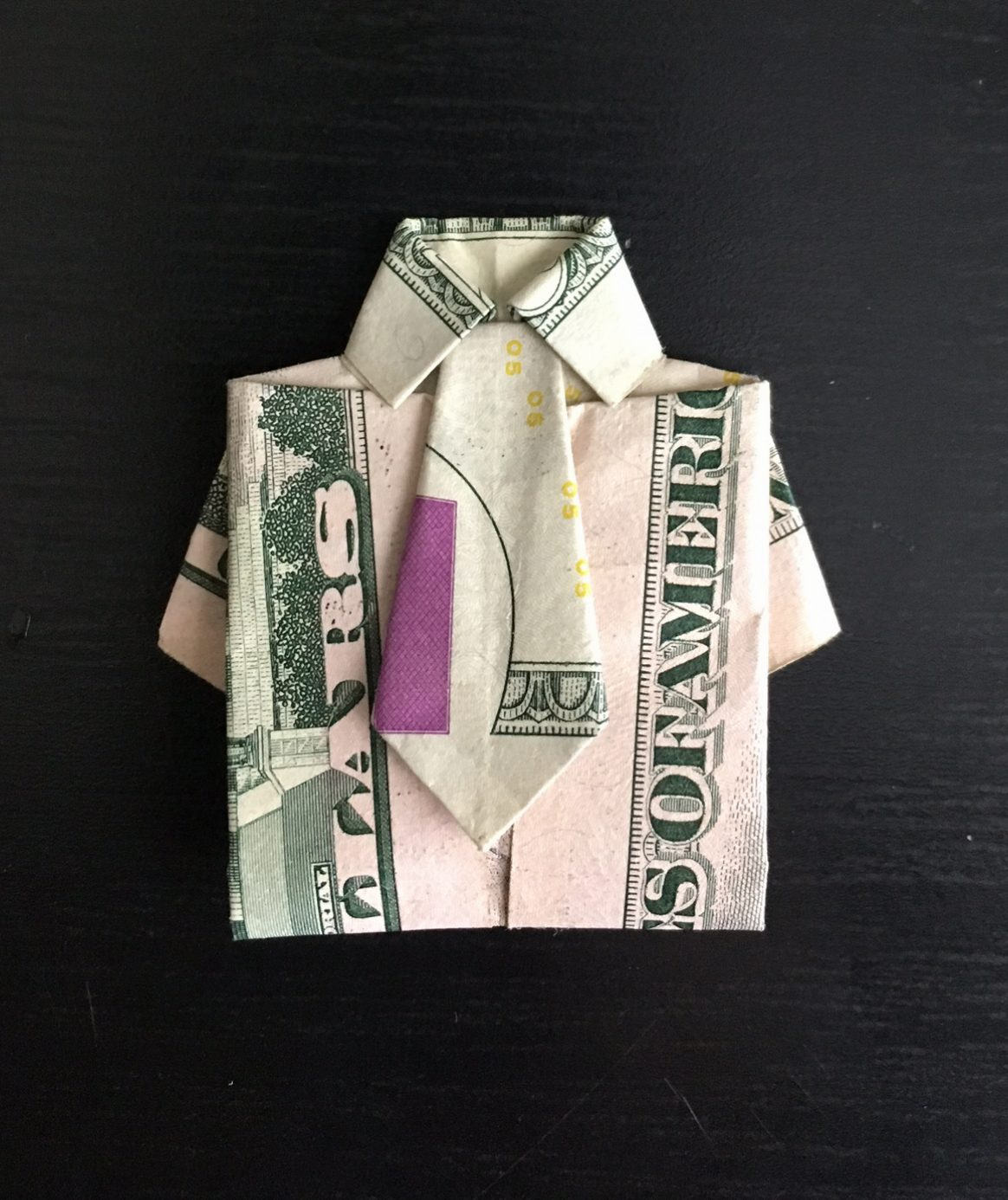 How to make origami shirt with tie out of dollar bill and ... - photo#17
